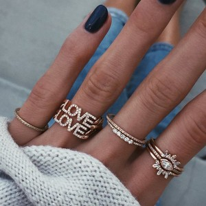 SILVER DIAMOND ROW STACK RING  $3.90