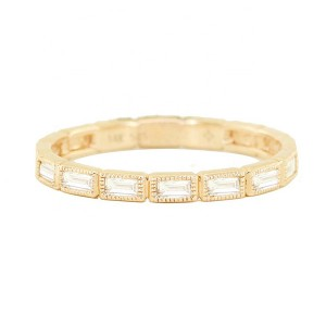 SILVER BAGUETTE DIAMOND MILGRAIN RING  $4.80
