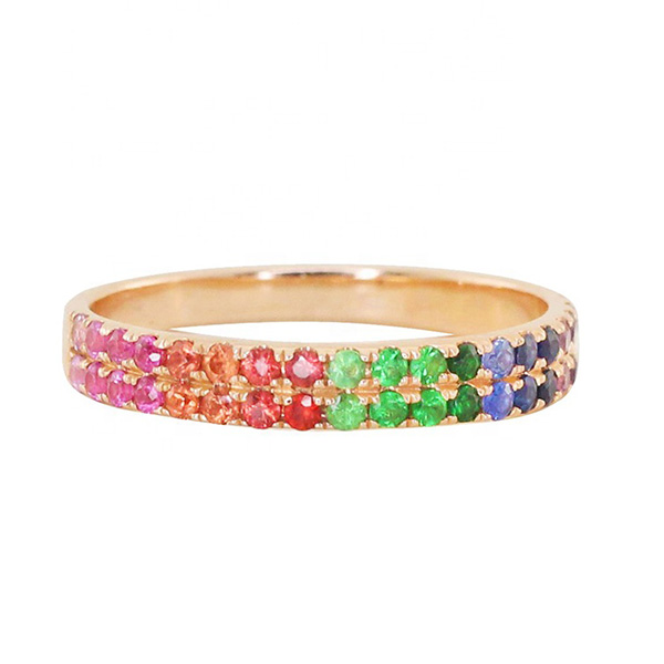 SILVER TWO ROW CZ RAINBOW ETERNITY RING  $5.90 Featured Image