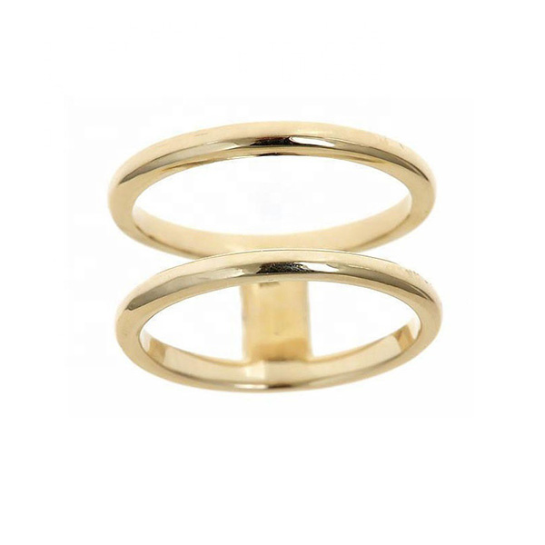 SILVER DOUBLE BAND GOLD FINGER RING  $7.20 Featured Image