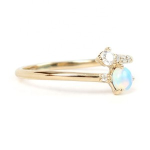 SILVER BLUE OPAL JEWELRY GOLD RING  $5.20