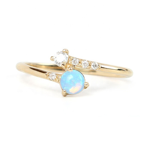 SILVER BLUE OPAL JEWELRY GOLD RING  $5.20 Featured Image
