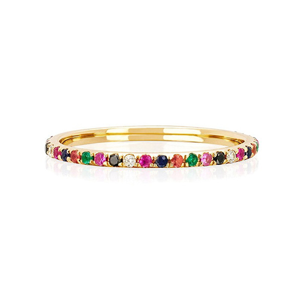 SILVER MINIMALIST ETERNITY RAINBOW RING  $4.40 Featured Image