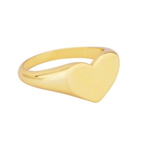 SILVER LOVE HEART SIGNET FINGER RING