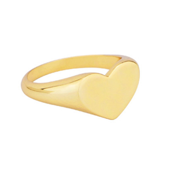 SILVER LOVE HEART SIGNET FINGER RING  $7.00 Featured Image