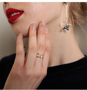 SILVER DOUBLE BAND CROSS SIMPLE RING  $7.60