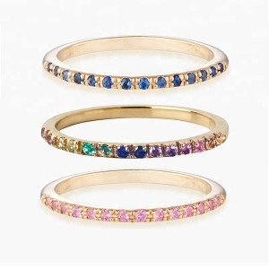 SILVER RAINBOW CZ HALF ETERNITY RING  $4.30