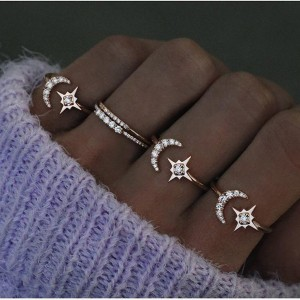 SILVER ADJUSTABLE CRESCENT MOON STAR RING  $4.80