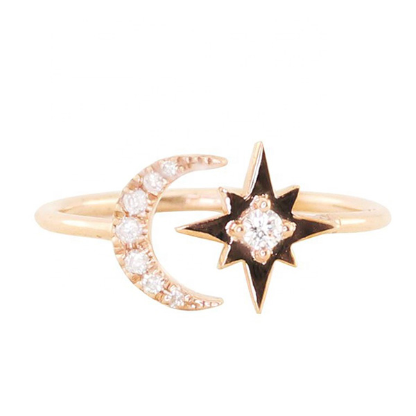 SILVER ADJUSTABLE CRESCENT MOON STAR RING  $4.80 Featured Image