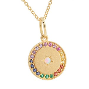 Silver opal rainbow CZ disc pendant necklace