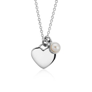 SILVER PEARL HEART PENDANT NECKLACE  $7.60