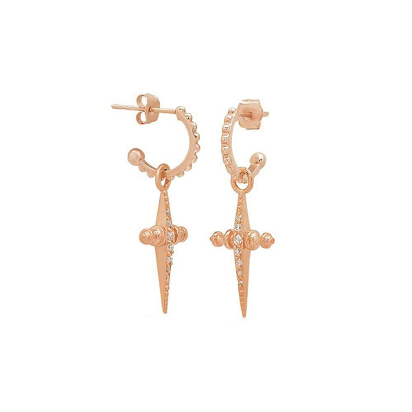 Silver pave mini cross hoop earring E-D1103 Featured Image