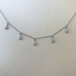 Silver drop choker necklace