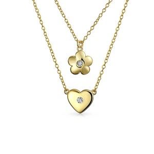 SILVER FLOWER HEART LAYERED NECKLACE  $12.20