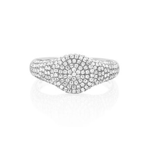 Silver pave CZ signet ring