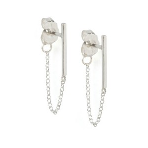Silver chain bar earring