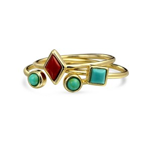 Silver trilogy turquoise ring set  R-F1041