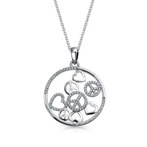 Silver peace pendant necklace