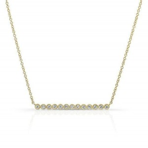 SILVER BEZEL SET CZ BAR NECKLACE  $7.50