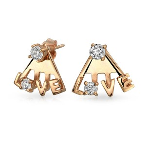 Silver love earring jacket E-S1020