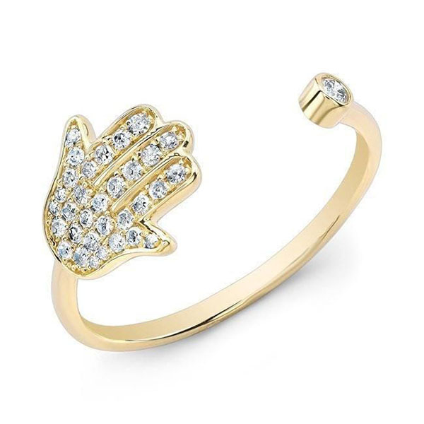 Silver CZ hamsa open ring  R-F1120 Featured Image