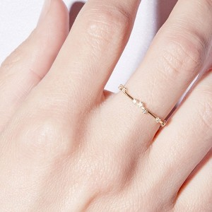 Silver delicate scattered cz ring